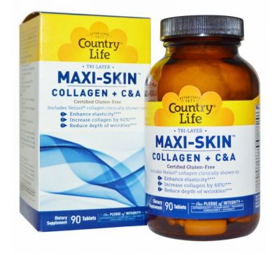 Country Life, Tri Layer Maxi-Skin, коллаген плюс C&А, 90 таблеток