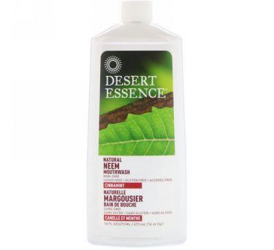 Desert Essence, Натуральный ополаскиватель для полости рта с нимом, Cinnamint, 16 унции (480 мл)
