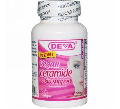 Deva, Веганские керамиды для поддержания здоровья кожи, 60 таблеток