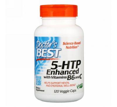 Doctor's Best, 5-HTP, усиленный витаминами B6 и C, 120 растительных капсул