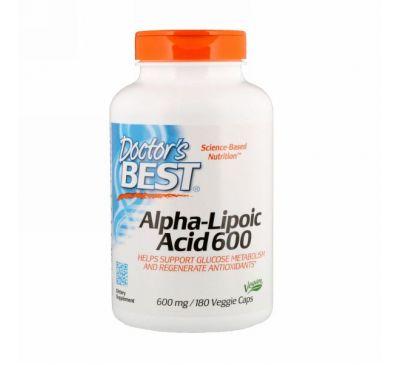 Doctor's Best, Альфа-липоевая кислота, 600 мг, 180 вегетарианских капсул