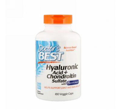 Doctor's Best, Гиалуроновая кислота и сульфат хондроитина, 180 растительных капсул