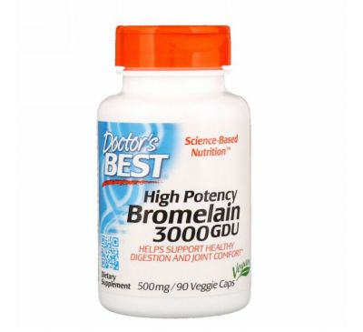 Doctor's Best, High Potency Bromelain, 3000 GDU, 500 mg, 90 Veggie Caps