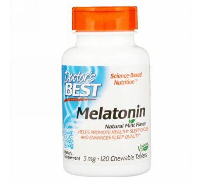 Doctor's Best, Мелатонин, натуральный аромат мяты, 5 мг, 120 жевательных таблеток