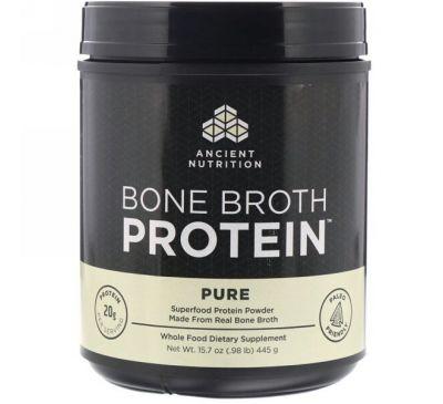 """Dr. Axe / Ancient Nutrition, """"Белок костного бульона"""", чистый белковый порошок без ароматизаторов, 15,7 унции (445 г)"""