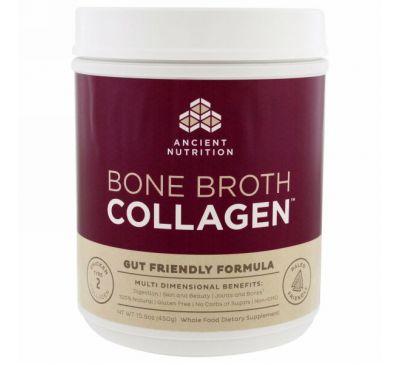 Dr. Axe / Ancient Nutrition, Коллаген из костного бульона, очищенный, 450 г (15.9 oz)