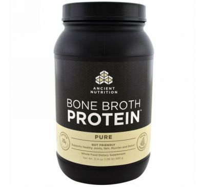 Dr. Axe / Ancient Nutrition, Протеин Bone Brot, чистый, 31.4 унц. (890 г.)