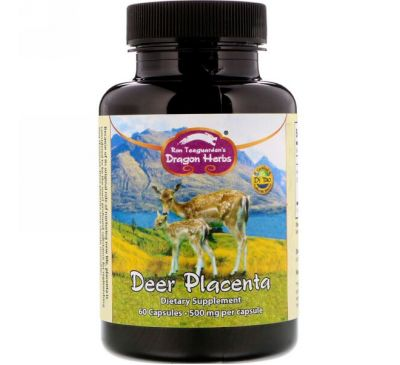 Dragon Herbs, Плацента оленя, 500 мг, 60 капсул