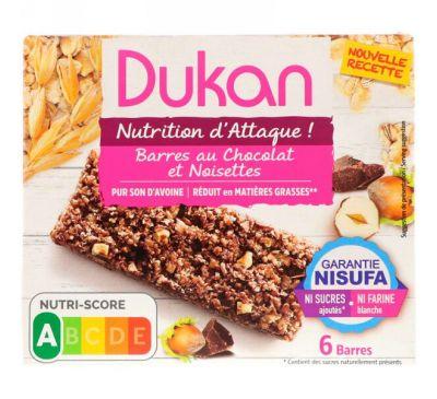 Dukan Diet, Oat Bran Chocolate Hazelnut Bars, 6 Bars, (25 g) Each