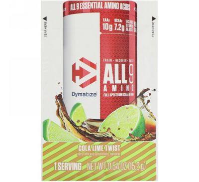 Dymatize Nutrition, All 9 Amino, Cola Lime Twist, 0.54 oz (15.2 g)