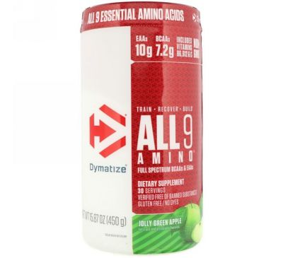 Dymatize Nutrition, All 9 Amino, Веселое зеленое яблоко, 15,87 унц. (450 г)
