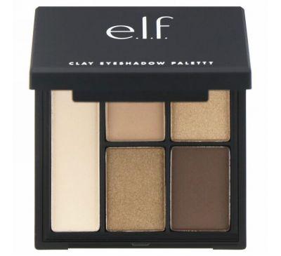 """E.L.F. Cosmetics, Палетка теней для век на глиняной основе, оттенки """"Necessary Nudes"""" (""""необходимые естественные оттенки""""), 0,26 унции (7,5 г)"""