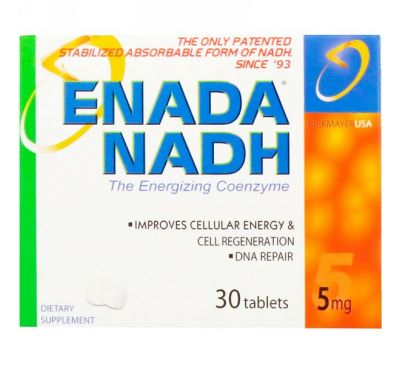 ENADA, Enada NADH, The Energizing Coenzyme, 5 мг, 30 таблеток