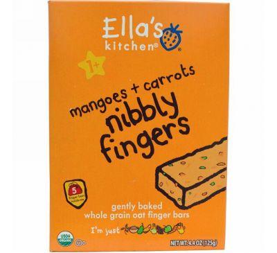 Ella's Kitchen, Хрустящие пальчики, манго + морковь, 5 батончиков, 4,4 унции (125 г)