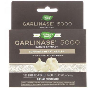 Enzymatic Therapy, Garlinase 5000, 320 мг, 100 таблеток, покрытых желудочно-резистентной оболочкой