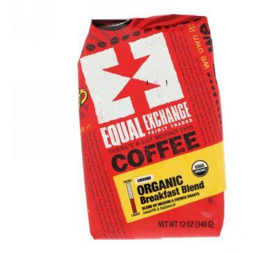 Equal Exchange, Органический продукт, кофе, смесь для завтрака, мололтый, 12 унц. (340 г)