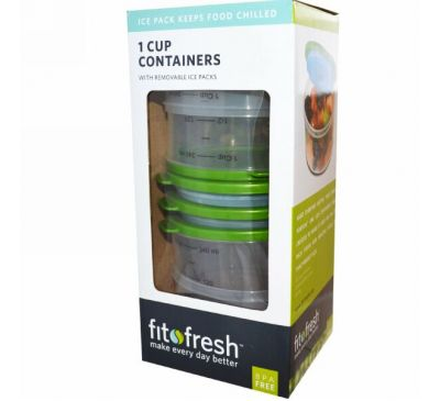 Fit & Fresh, Охлаждающие Контейнеры для Еды Объемом 1 Стакан, набор из 4 шт.