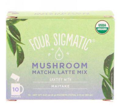 Four Sigmatic, Смесь для маття латте с грибами, 10 пакетиков, по 0,21 унции (6 г) каждый