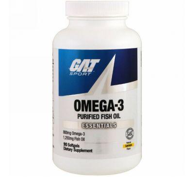 GAT, Омега-3, лимон, 90 мягких капсул