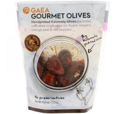 Gaea, Оливки для гурманов, маринованные каламатские оливки без косточек, 4,2 унции (120 г)