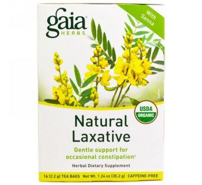 Gaia Herbs, Натуральное слабительное, без кофеина, 16 пакетиков, 1,24 унции (35,2 г)