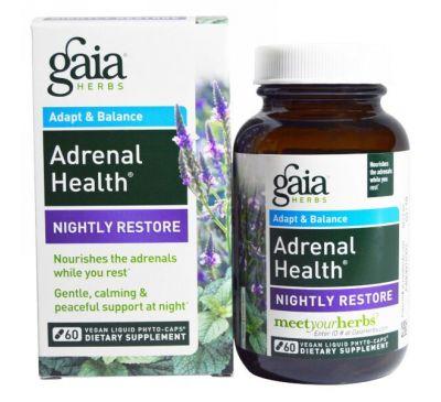 Gaia Herbs, Здоровье надпочечников, ночное восстановление, 60 веганских жидких фитокапсул