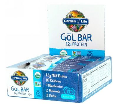Garden of Life, GOL Bars, Blueberry, 12 Bars, 2.11 oz (60 g) Each