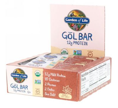 Garden of Life, GOL Bars, Maple Sea Salt, 12 Bars, 2.11 oz (60 g) Each