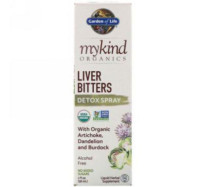 Garden of Life, MyKind Organics, Спрей для детоксикации печени на основе горьких растений, 2 ж. унц.(58 мл)