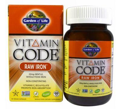 Garden of Life, Vitamin Code, RAW Iron, 30 веганских капсул