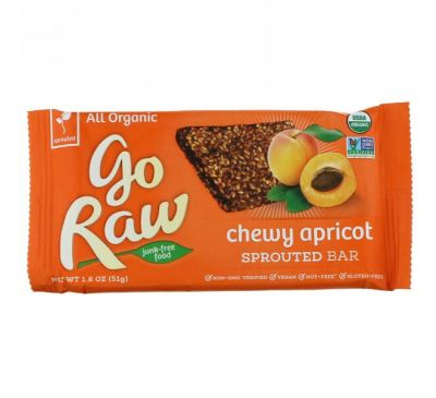 Go Raw, Organic, Chewy Apricot Sprouted Bar, 1.8 oz (51 g)