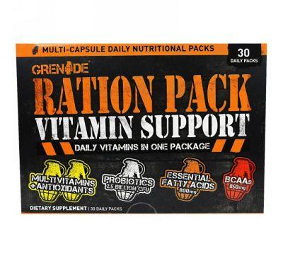 """Grenade, """"Рацион"""", мультивитаминный комплекс, 30 суточных пакетиков"""