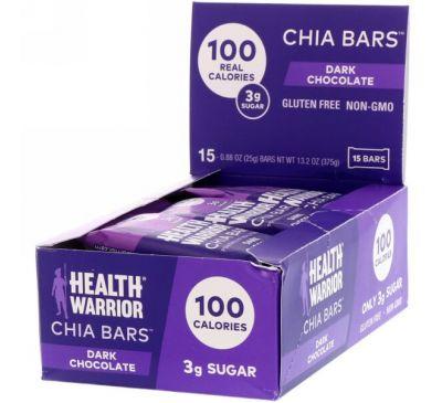 Health Warrior, Inc., Батончики с чиа, темный шоколад, 15 батончиков, по 0,88 унции (25 г) каждый