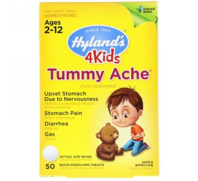 Hyland's, 4Kids, Tummy Ache, Ages 2-12, 50 Quick-Dissolving Tablets