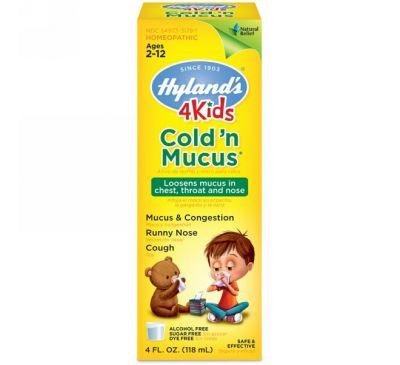 Hyland's, 4 Kids, простуда и мокрота, возраст 2-12 лет, 4 ж. унц. (118 мл)