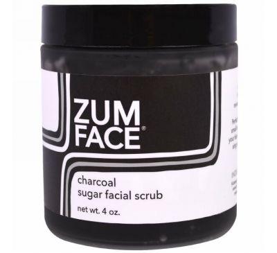 """Indigo Wild, """"Zum для лица"""", сахарный скраб для лица с активированным углем, 4 унции"""