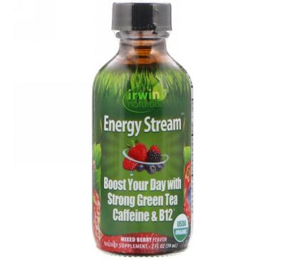 Irwin Naturals, Органический продукт, Поток энергии, Вкус разных ягод, 2 ж. унц.(59 мл)