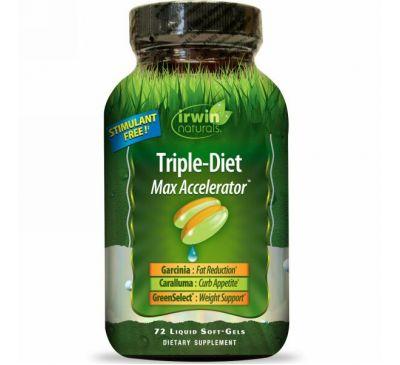 Irwin Naturals, Тройная диета, максимальный акселератор, 72 жидких гелей