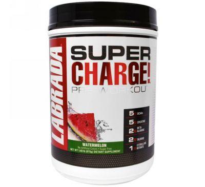 """Labrada Nutrition, """"Сверхзаряд!"""", предтренировочный комплекс со вкусом арбуза, 1, 49 фунта (675 г)"""