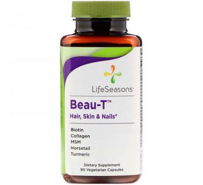 LifeSeasons, Beau-T, волосы, кожа и ногти, 90 вегетарианских капсул