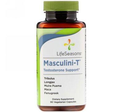 LifeSeasons, Masculini-T, поддерживает уровень тестостерона, 90 вегетарианских капсул