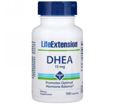 Life Extension, ДГЭА, 15 мг, 100 капсул