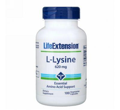 Life Extension, L-лизин, 620 мг, 100 растительных капсул