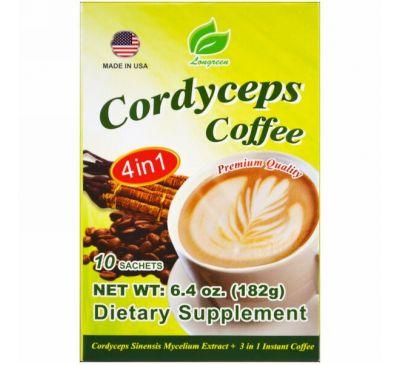 Longreen Corporation, Cordyceps Coffee, 4 в 1, кофе с кордицепсом, 10 пакетиков, 182 г (6,4 унции)