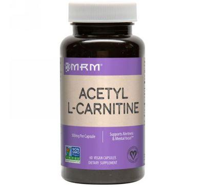 MRM, Ацетил L-карнитин, 500 мг, 60 веганских капсул