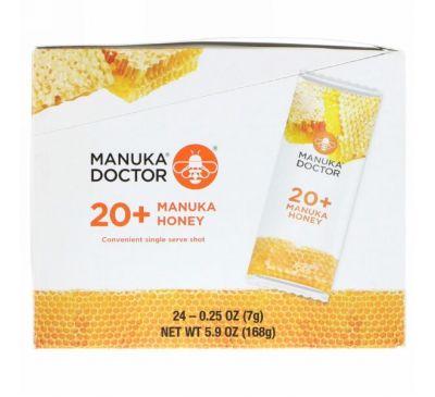 Manuka Doctor, Лесной мёд манука 20+, 24 порционных пакета, 0,25 унц. (7 г) каждый