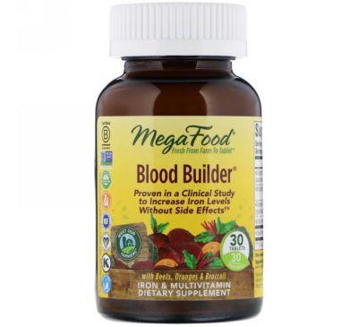 MegaFood, Blood Builder, Iron & Multivitamin Supplement, 30 Tablets