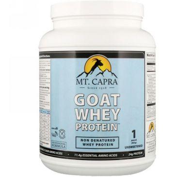 Mt. Capra, Сывороточный белок козьего молока, без подсластителей, 1 фунт (453 г)