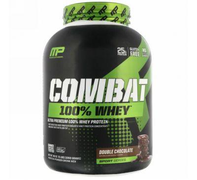 MusclePharm, Серия «Combat», 100% сывороточный белок, двойной шоколад, 5 фунтов (2269 г)