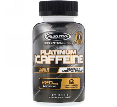 Muscletech, Essential Series, Platinum 100% Caffeine, 200 mg, 125 Tablets